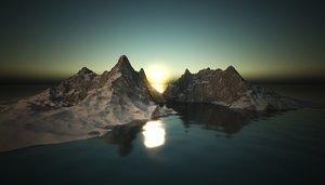 3D mountain winter water rock landscape