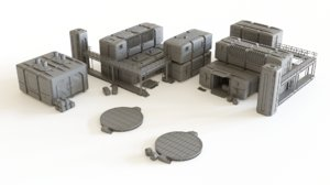 colony modules tabletop scenery 3D model