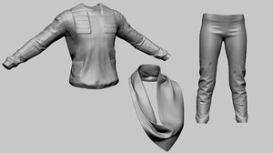 stylized clothes trousers scarf 3D