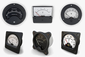 3d analog voltmeters