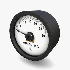3D vintage dc ammeter 14