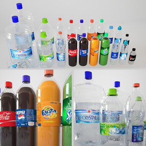 3D model bottles plastic