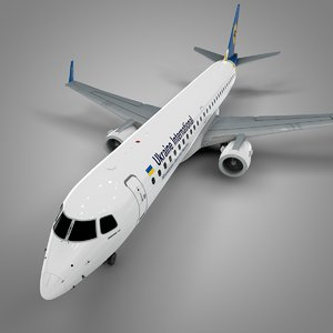 ukraine international airlines embraer195 3D model