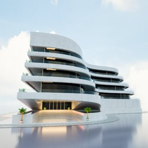 futuristic building concept 3D model