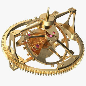 3D golden tourbillon mechanism