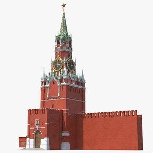 3D moscow kremlin spasskaya tower model