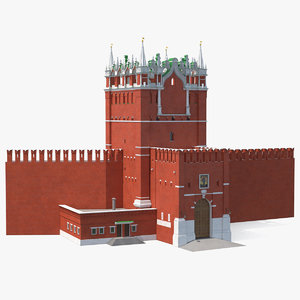 red brick tower old wall 3D model