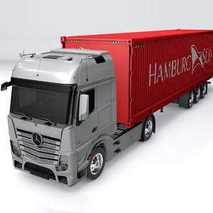 3D model mercedes benz actros silver
