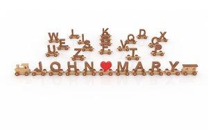 alphabet e 3D