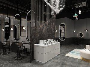 3D barber shop model