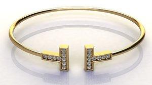 3D diamond t wire bracelet model