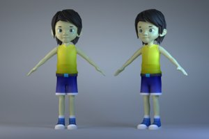 3D characters long-haired boys