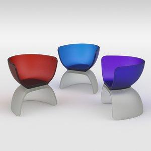 cast glass chair 3D