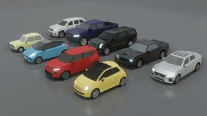 9 cars 3D model