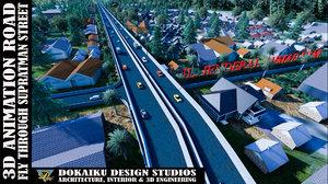 3D road supratman street toll
