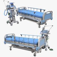 Hospital ventilator and medical bed