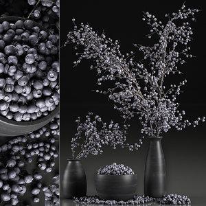decorative interior bouquet blueberry 3D