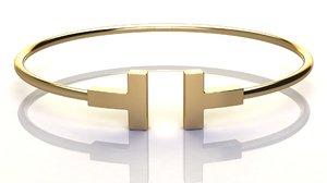 t narrow wire bracelet 3D model