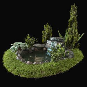 alpine hill grass 3D model