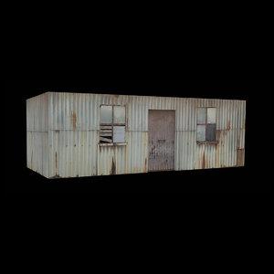 3D rusty metal shack house model