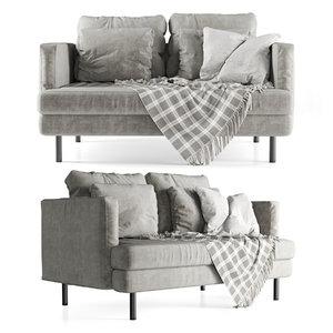 velour double sofa 3D model