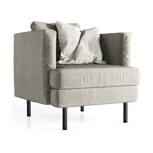 3D velour lounge chair