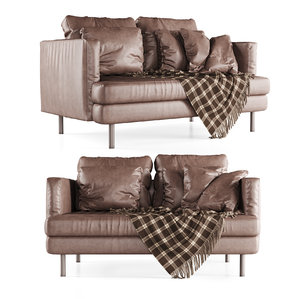3D model double leather sofa