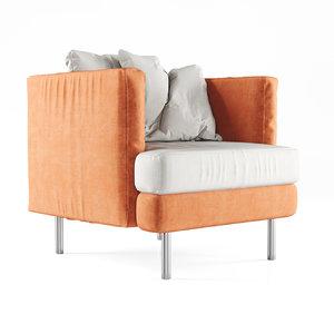 3D velour lounge chair model