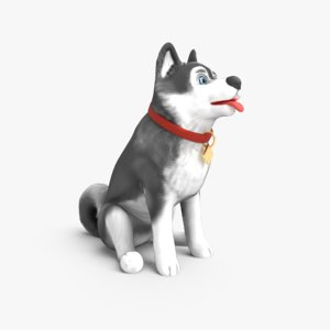 3D cartoon dog sitting animations