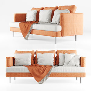 three-seater sofa plaid 3D model