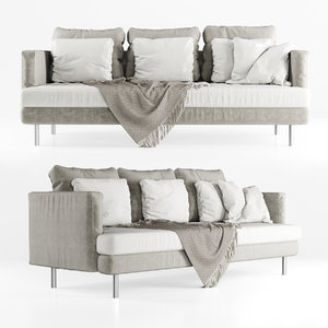 three-seater velour sofa 3D model