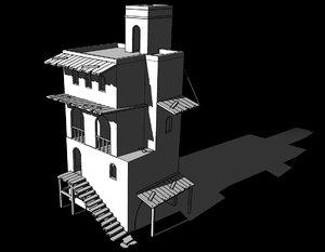 vivienda 3 niveles antigua 3D model