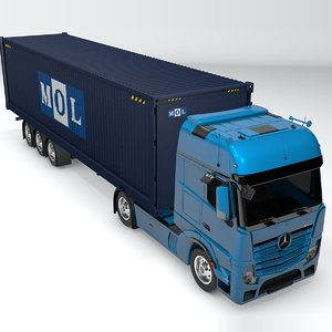 3D mercedes benz actros blue