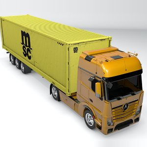 mercedes benz actros yellow 3D