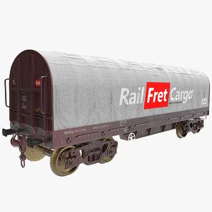 3D tarpaulin freight wagon model