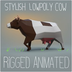 cow rigged animation 3D model