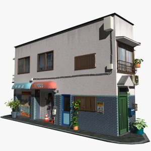 3D japanese corner building shop model