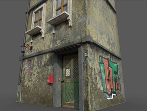 3D worn european house