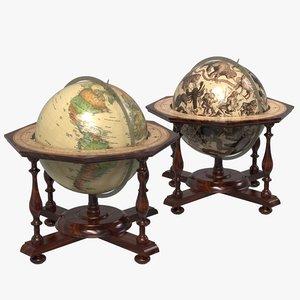3D antique globes celestial terrestrial