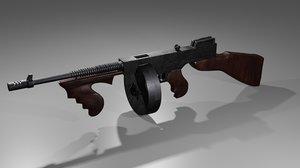 3D waepon thompson submachine gun