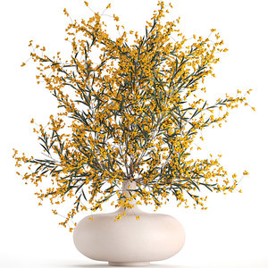 3D decorative branches vase yellow