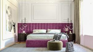 3D bedroom render corona