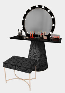 elegant makeup mirror set 3D model