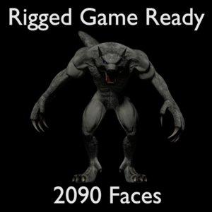 3D model rigged werewolf warewolf