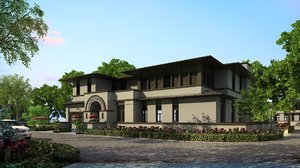 exterior contemporary storey house 3D