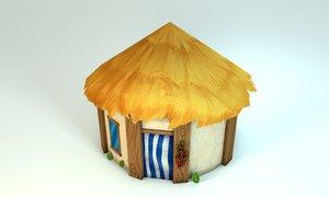 cabin cartoon tropical stylized 3D model