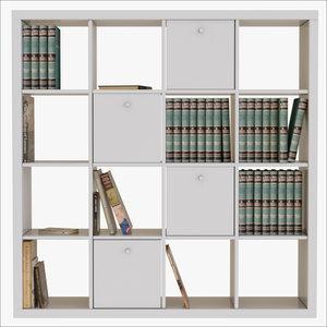 3D bookcase books