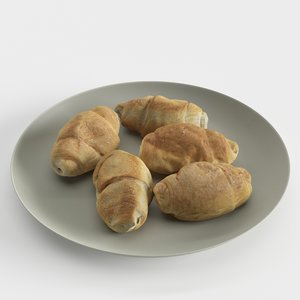 croissants plate 3D model