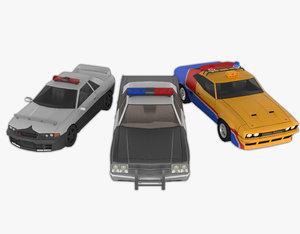 3 retro police cars model