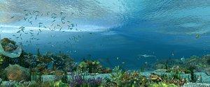 ocean floor coral underwater scene 3D